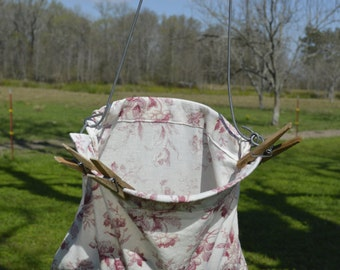 Vintage Laundry Line Clothespin Bag