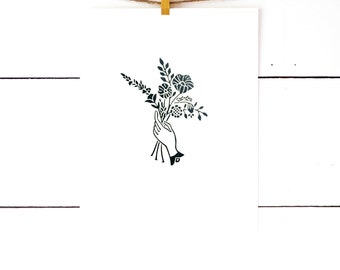 Gift for Her, Bouquet Print, Modern Art Print, Floral Print, Block Print, Black Artwork, Nordic Art, Floral Art, Flower Art Print, Linocut
