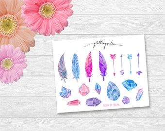 Blue and pink feathers, arrows and diamonds planner stickers