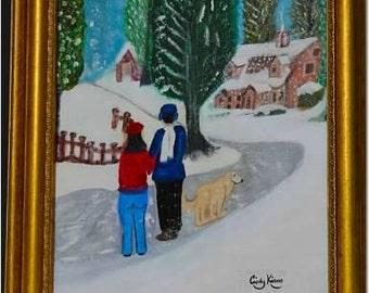 "Original Framed Acrylic On Canvas Painting, 16 x 20, ""Snow Scene"""