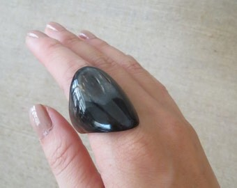 Wide Ring, Black Ring, Horn Ring, Chunky Ring, Thick Ring, Artisan Ring, Handcrafted Ring, Big Ring, Large Ring, Statement Ring