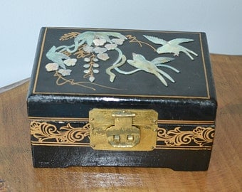 Black Jewelry Box With Mother Of Pearl, Asian Jewelry Box