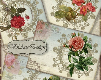 Roses - digital collage sheet - printable download - gift tags - set of 8