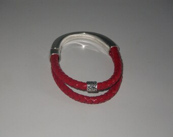 Bracelet red leather with magnetic silver plated demi-jonc