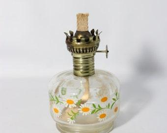 Small Glass Hurricane Lamp Hand Painted from Lamplights  Farm,  KeroseneLantern NO SHIMNEY