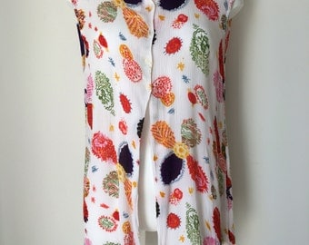 Crinkled rayon top 70s India boho hippie sleeveless blouse abstract arty florals  chest 38 large