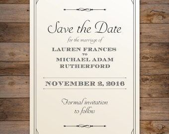 The Lauren, Save The Date - Elegant and Traditional Save The Date with beautiful Typography - DIY - Print at home!