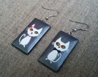 Wooden Earrings Valentines day gift for girlfriend  2 cats. Painting Wood Jewelry  Dangling  earings Handmade earrings