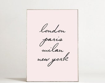 Glam Decor Typography Poster - London, Paris, Milan, New York - Typographic Print - Fashion Wall Art - Fashion Decor - Chic Office Decor