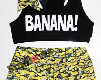 BANANA - Wacki Set - Funny Minion Bra, Bow and Wacki shorts Set
