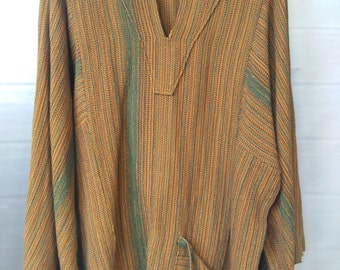 Vintage 70s Tunic, African Style Tunic, Handwoven, Yellow Orange and Green Tunic, Hippie