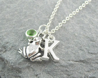 Frog necklace, personalized jewelry, initial necklace, swarovski birthstone, gift for her, silver frog, birthstone jewelry, frog jewelry