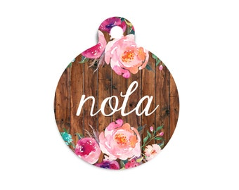 Trendy Dog Tag for Dogs, Floral Pet Id Tag, Floral and Wood Dog Tag, Floral and Wood Cat Tag, Faux Wood Dog Tag, Modern Dog Tag, Summer Tag