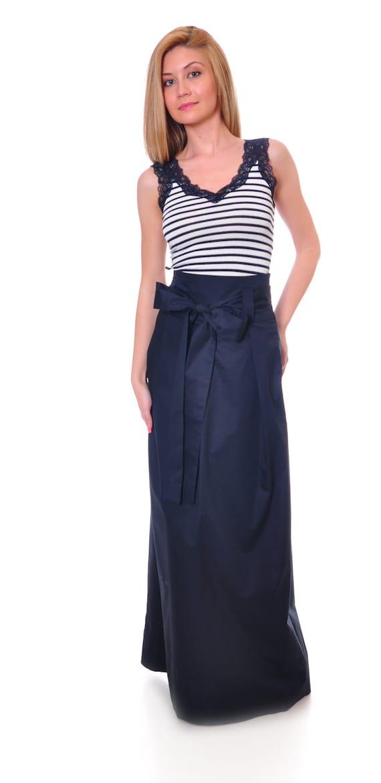 plus size skirt maxi skirt high waist skirt blue cotton
