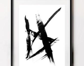 Brush Stroke Art, Brush Strokes, Japanese Art, Black and White Abstract Art, Zen Art, Minimalist Print, Downloadable Prints