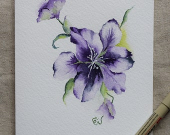 Purple Clematis Flower Watercolor Painted Card- Original or Print