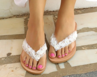 BRIDAL  LEATHER Sandals Women's Leather shoes White flowers and pearls---SWF013
