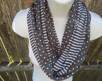 Gray and White Reversible Infinity Scarf
