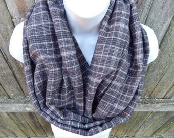 Gray and White Plaid Infinity Scarf