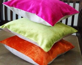 Velvet Pillow Cover, Plain Pillow Cover, Throw Pillow, Cushion Cover, Handmade Pillow, Zipper Enclosure Pillow Cover