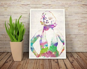 Marilyn Monroe Watercolor Print, Marilyn Monroe Poster, Marilyn Monroe Print, Marilyn Monroe Art,Home Decor, Gift Idea