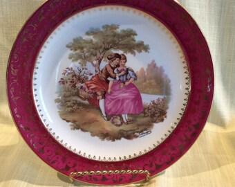 Vintage large Limoges France Porcelain Fragonard Courting couple wall hanging plate