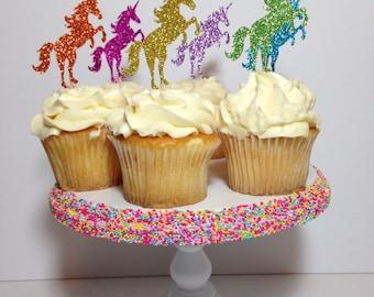 Unicorn Cupcake Toppers (Glitter Decorations, Unicorn Theme, Unicorn Party, Rainbow Toppers)