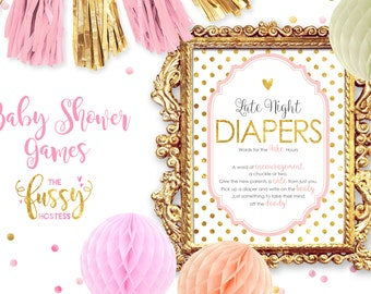 Late Night Diapers Game, Sign Printable, Printable Baby Shower Game, Instant Download, Baby Shower Games, Printable Game, Pink and Gold