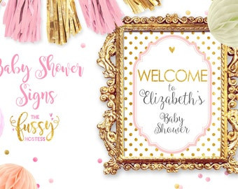 Welcome Baby Shower Sign, Custom, Printable Baby Shower Game, Download, Printable, Baby Shower Printable, Baby Shower Games, Pink and Gold