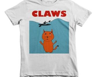 """Claws Kids T-Shirt, Spoof on movie """"Jaws"""", Kids Funny TShirt 2yr, 4yr, 6yr sizes, Cute Shirts for Kids, Funny Kids Shirts, T-Shirts for kids"""