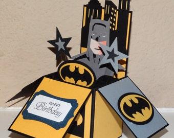 Batman Happy Birthday Cards, handmade  3D pop up greeting card