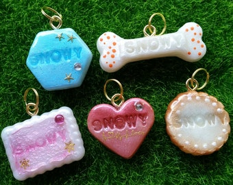 Custom Personalized Air Dry Clay Pet Name Tag Key Ring