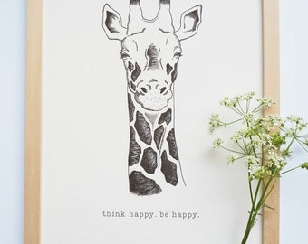 Printable art Happy giraffe