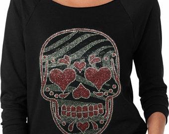 Skull Rhinestone Ladies Off the Shoulder Terry Raglan