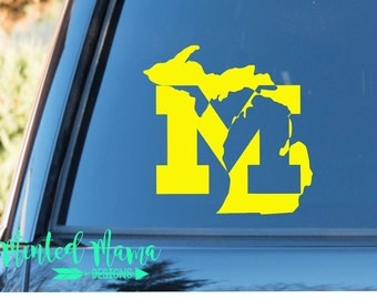 Michigan M Decal, Michigan Football Decal, University of Michigan Decal, U of M Sticker, Wolverines Decal