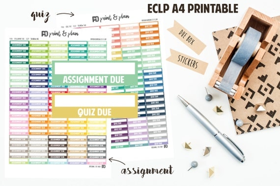 assignment  quiz due planner sticker printable by