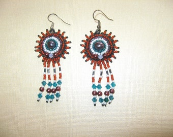 Earrings.  Bead Embroidery.  Funky Freshwater Pearls