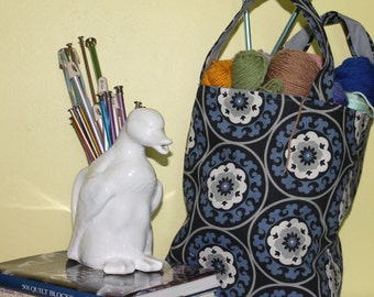 Black,Blue and Grey Flower Medallion Tote