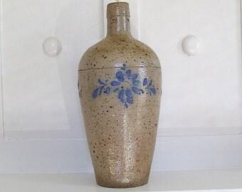Vintage stoneware bud vase with hand painted flowers