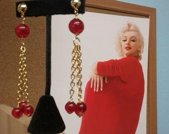 Vintage Red Dangle Earrings