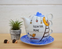 """Hand painted tea for one set with cute fox and little bird with """"Follow your dreams""""phrase/ dreamers/ tea lovers"""