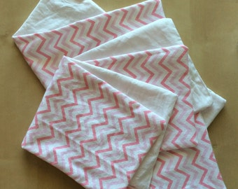 Baby Girl Burp Cloths - Pink Chevron