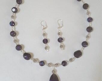 Deep Purple Necklace & Earring Set