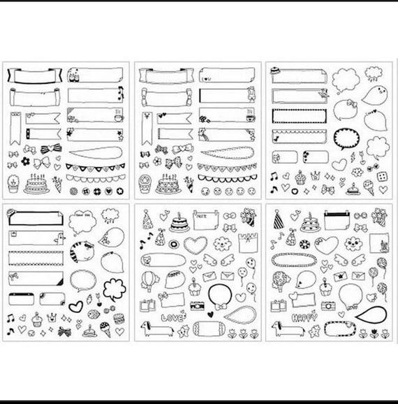 6 Fogli Adesivi Per Scrapbooking Stickers Decorazione