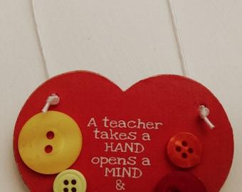 Teacher gift, School gift, Thank you gift, Button gift, Hanging heart gift, End of term gift, Fun gift, keepsake hanging heart, red heart