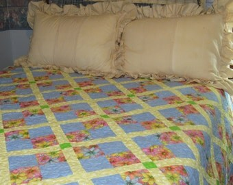 homemade handmade quilt, double bed quilt, floral and blue quilt, girls bedding, daisy quilt