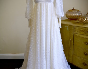 Authentic  1970s lace vintage Wedding dress with train, Victorian Edwardian style bridal gown, ruffle boho hippy gypsy