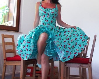 Pinup dress 'Rockabilly Summer Turquise Cherries', very full skirted rockabilly dress, 50s style pinup dress