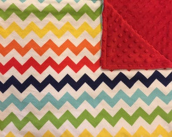 Rainbow Chevron Flannel Minky Blanket