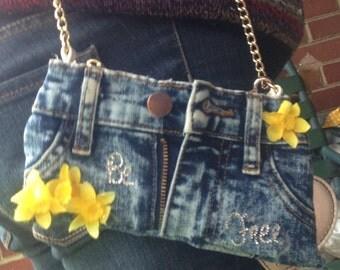 Handmade blue jean/denim wristlet with chain
